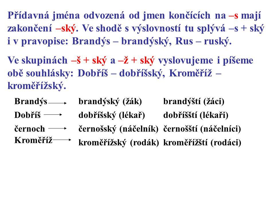 K daným podstatným jménům napište přídavná jména v jednotném i množném čísle.
