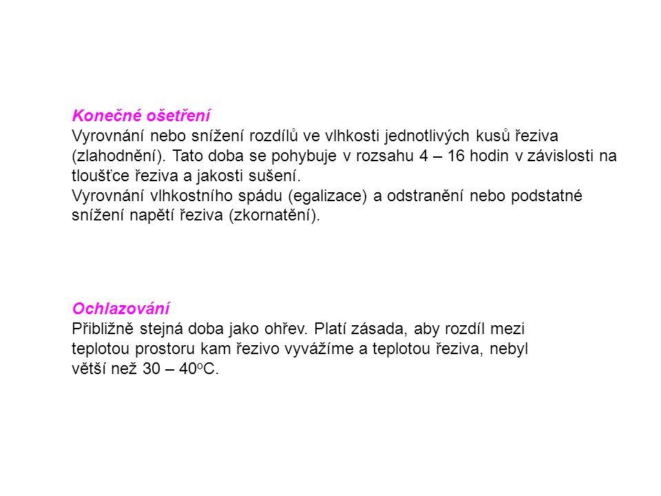 Konečné ošetření Vyrovnání nebo snížení rozdílů ve vlhkosti jednotlivých kusů řeziva (zlahodnění).