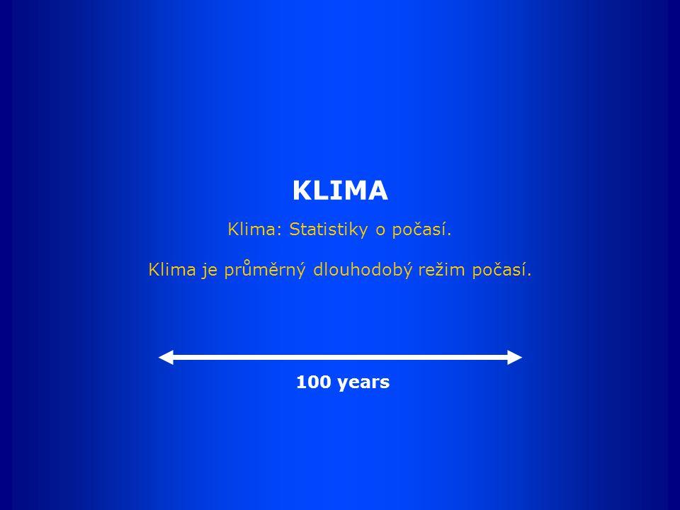 KLIMA Klima: Statistiky o počasí. Klima je průměrný dlouhodobý režim počasí. 100 years