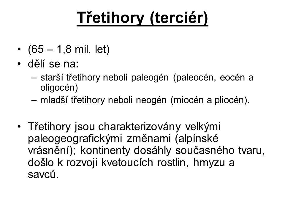 Třetihory (terciér) (65 – 1,8 mil. let) dělí se na: –starší třetihory neboli paleogén (paleocén, eocén a oligocén) –mladší třetihory neboli neogén (mi