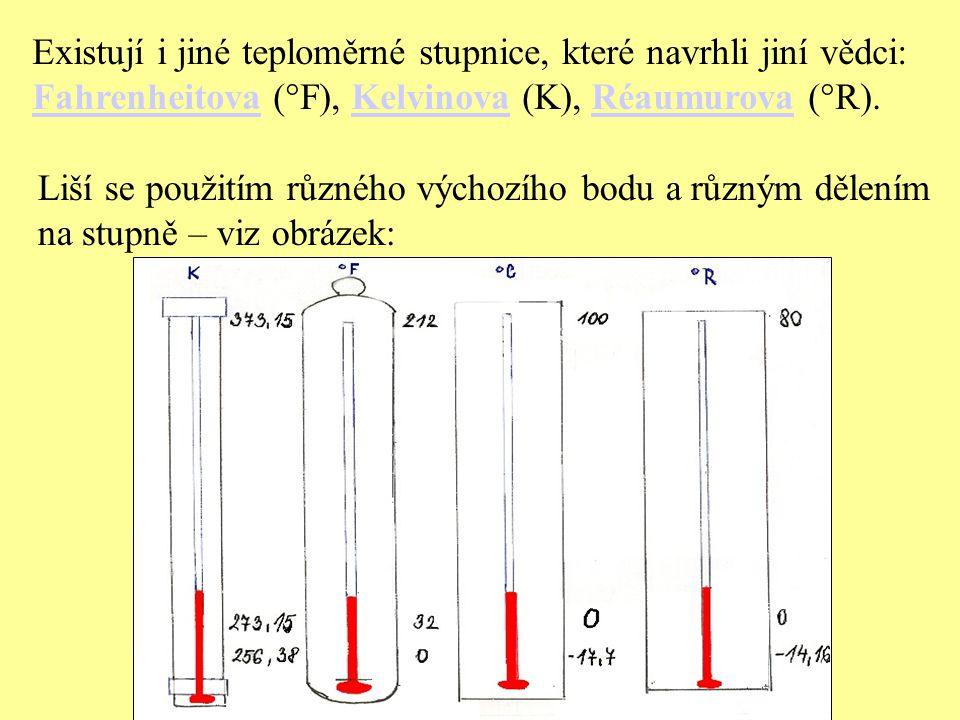 Existují i jiné teploměrné stupnice, které navrhli jiní vědci: FahrenheitovaFahrenheitova (°F), Kelvinova (K), Réaumurova (°R). Kelvinova Réaumurova L