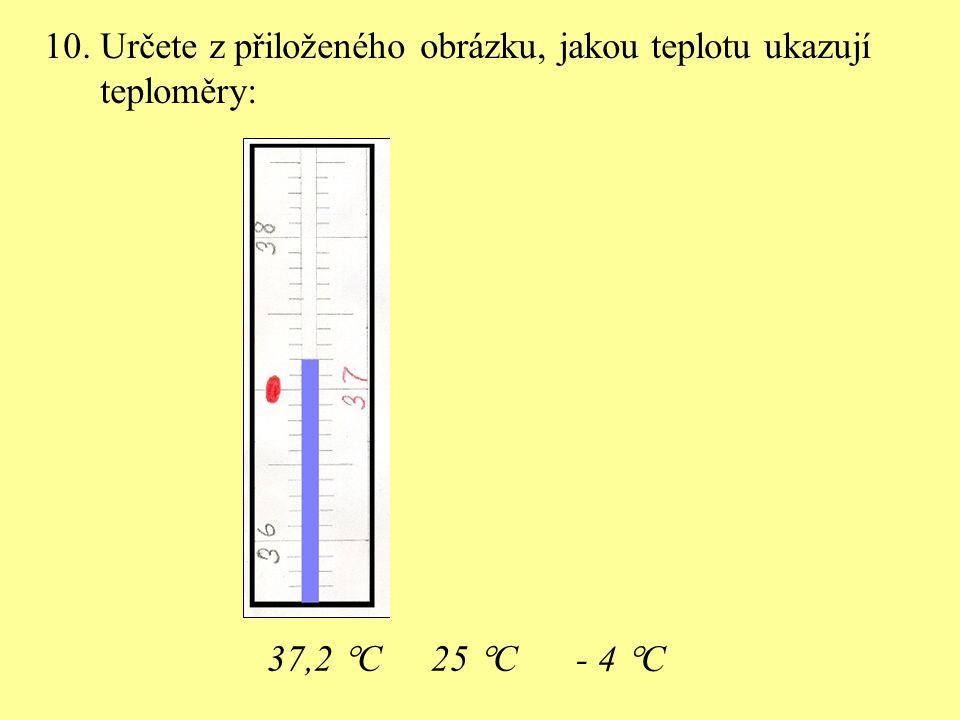 10. Určete z přiloženého obrázku, jakou teplotu ukazují teploměry: 37,2  C25  C - 4  C