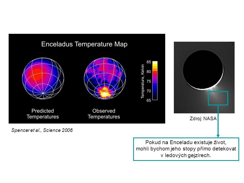 Spencer et al., Science 2006 Zdroj: NASA Pokud na Enceladu existuje život, mohli bychom jeho stopy přímo detekovat v ledových gejzírech.