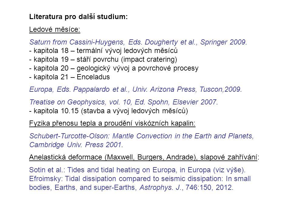 Literatura pro další studium: Ledové měsíce: Saturn from Cassini-Huygens, Eds.