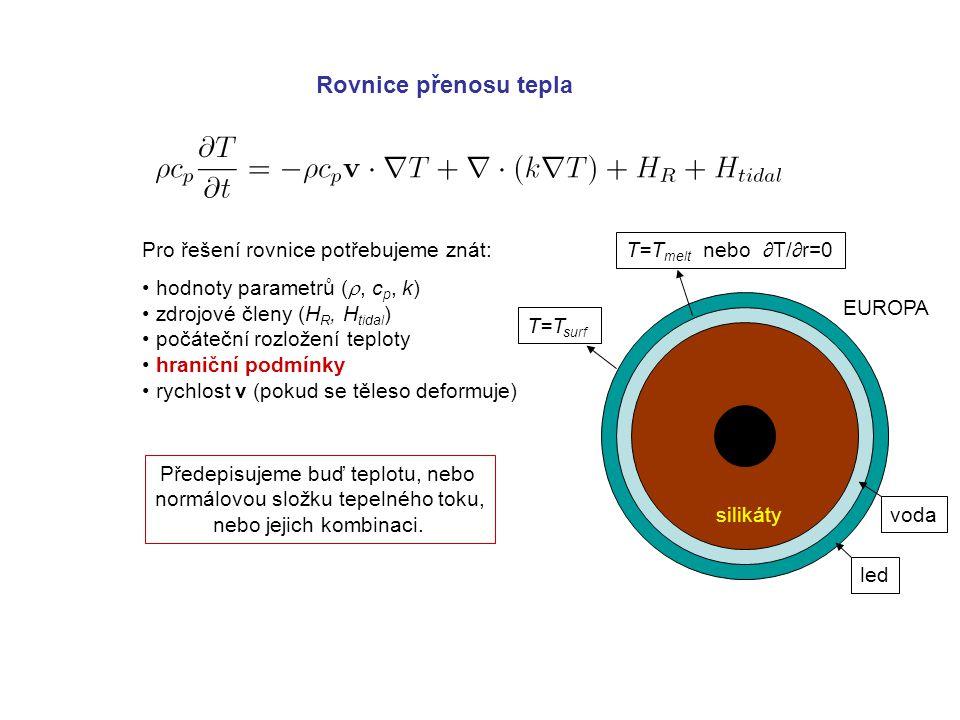 Rovnice přenosu tepla Pro řešení rovnice potřebujeme znát: hodnoty parametrů ( , c p, k) zdrojové členy (H R, H tidal ) počáteční rozložení teploty hraniční podmínky rychlost v (pokud se těleso deformuje) Předepisujeme buď teplotu, nebo normálovou složku tepelného toku, nebo jejich kombinaci.