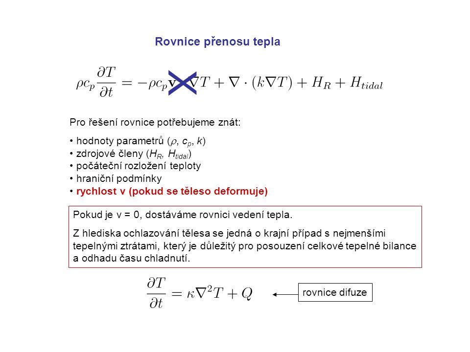Rovnice přenosu tepla Pro řešení rovnice potřebujeme znát: hodnoty parametrů ( , c p, k) zdrojové členy (H R, H tidal ) počáteční rozložení teploty hraniční podmínky rychlost v (pokud se těleso deformuje) Pokud je v = 0, dostáváme rovnici vedení tepla.