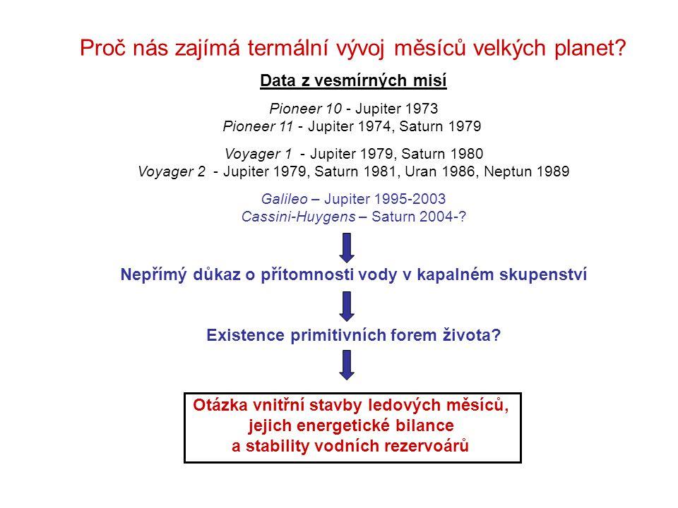 """Prvek 26 AL 60 Fe 53 Mn 238 U 235 U 232 Th 40 K  (Ma) 0.7 1.5 3.7 4468 704 14030 1277 H 0 (W/kg) 0.341 0.071 0.027 94.65 x 10 -6 568.7 x 10 -6 26.38 x 10 -6 29.17 x 10 -6 C 0 (ppb) 600 200 25.7 26.2 8.2 53.8 1104 Teplo produkované rozpadem radiaktivnívh prvků volumetrické radiaktivní zahřívání hustota směsi hmotnostní podíl silikátů ve směsi koncentrace tepelná produkcečas suma přes elementy poločas rozpadu SLRI – """"Aluminium-26 počáteční tepelný puls LLRI dlouhodobý efekt Ordinary chondrite – podle Robuchon et al., Icarus 2010"""