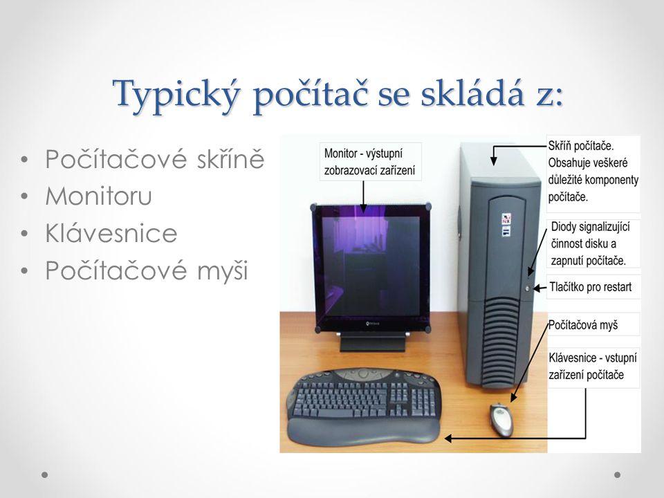 Typický počítač se skládá z: Počítačové skříně Monitoru Klávesnice Počítačové myši