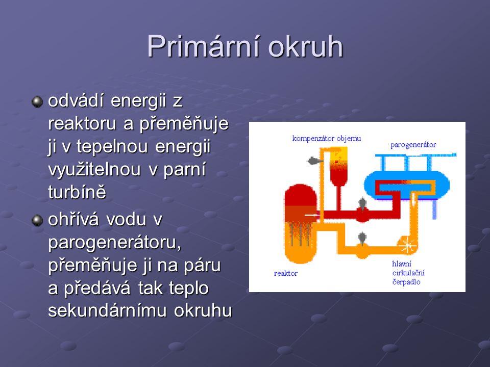 Primární okruh odvádí energii z reaktoru a přeměňuje ji v tepelnou energii využitelnou v parní turbíně ohřívá vodu v parogenerátoru, přeměňuje ji na p