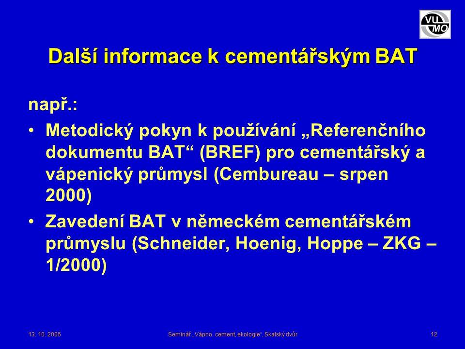 """13. 10. 2005Seminář """" Vápno, cement, ekologie"""", Skalský dvůr12 Další informace k cementářským BAT např.: Metodický pokyn k používání """"Referenčního dok"""