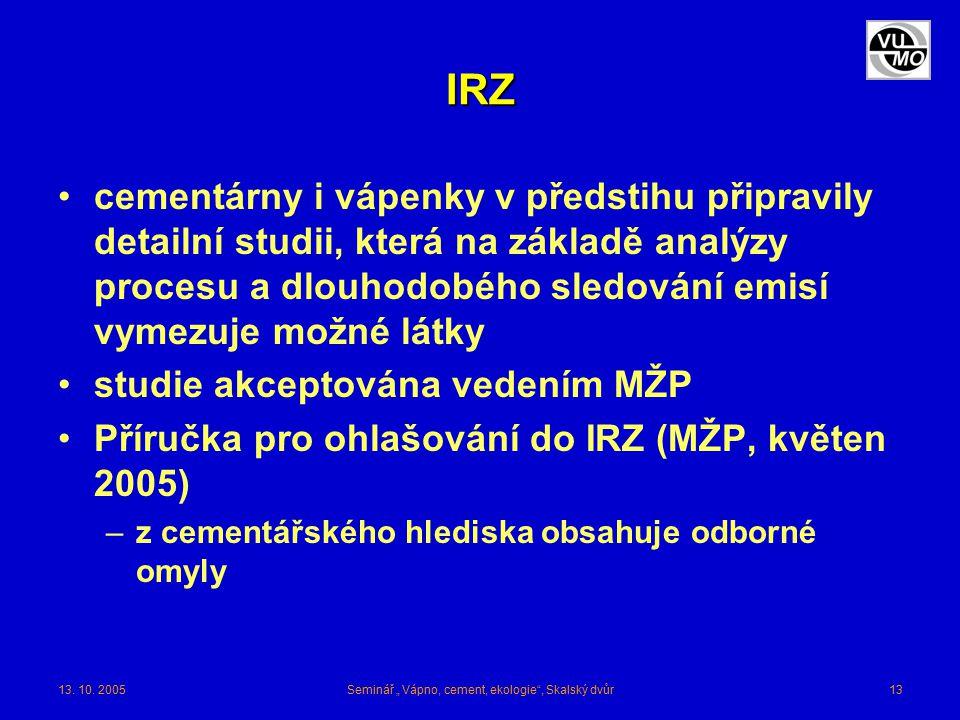 """13. 10. 2005Seminář """" Vápno, cement, ekologie"""", Skalský dvůr13 IRZ cementárny i vápenky v předstihu připravily detailní studii, která na základě analý"""