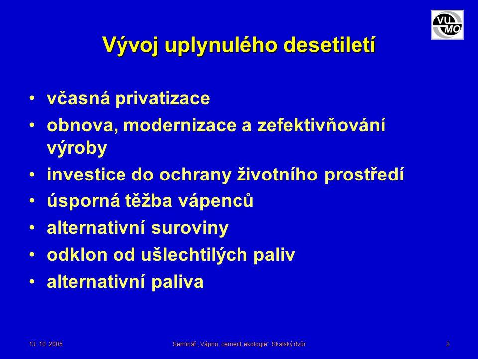 """13. 10. 2005Seminář """" Vápno, cement, ekologie"""", Skalský dvůr2 Vývoj uplynulého desetiletí včasná privatizace obnova, modernizace a zefektivňování výro"""