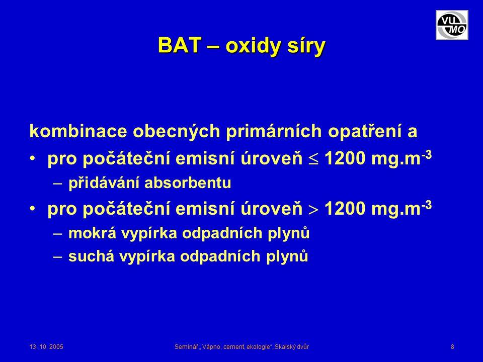 """13. 10. 2005Seminář """" Vápno, cement, ekologie"""", Skalský dvůr8 BAT – oxidy síry kombinace obecných primárních opatření a pro počáteční emisní úroveň """
