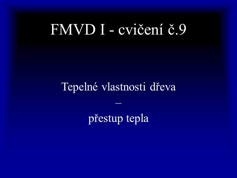 FMVD I - cvičení č.9 Tepelné vlastnosti dřeva – přestup tepla