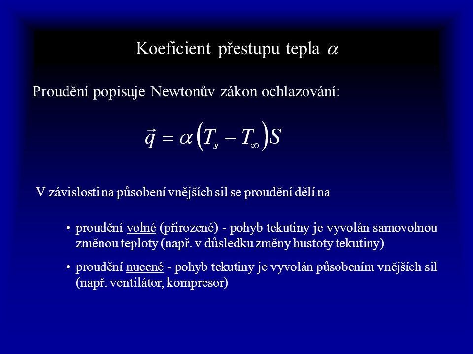 Koeficient přestupu tepla  Proudění popisuje Newtonův zákon ochlazování: V závislosti na působení vnějších sil se proudění dělí na proudění volné (přirozené) - pohyb tekutiny je vyvolán samovolnou změnou teploty (např.