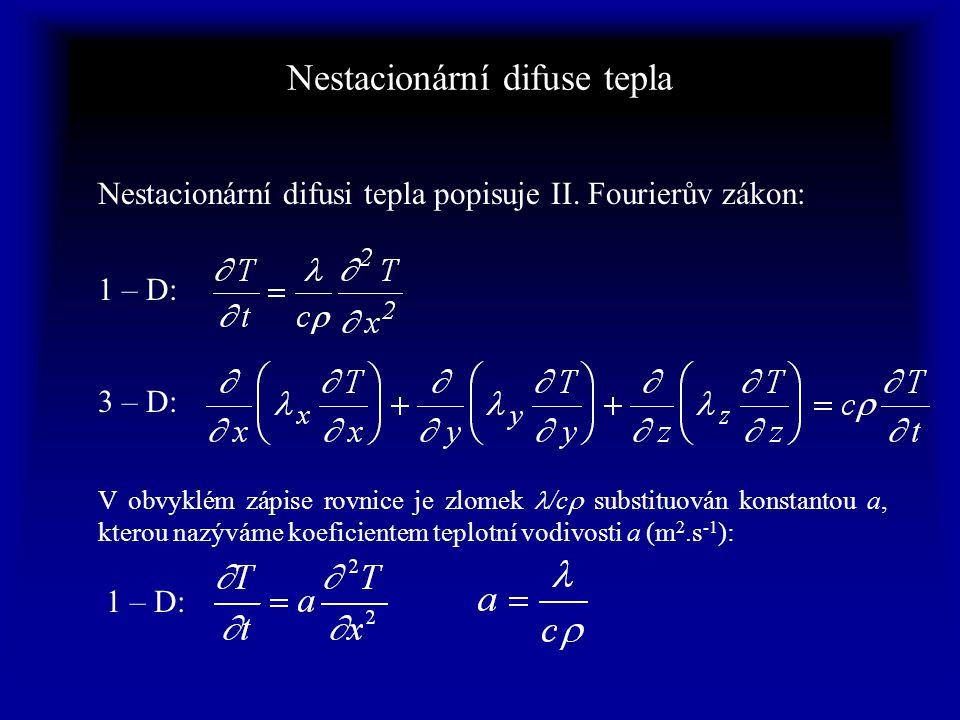 Nestacionární difuse tepla V obvyklém zápise rovnice je zlomek /c  substituován konstantou a, kterou nazýváme koeficientem teplotní vodivosti a (m 2.s -1 ): Nestacionární difusi tepla popisuje II.