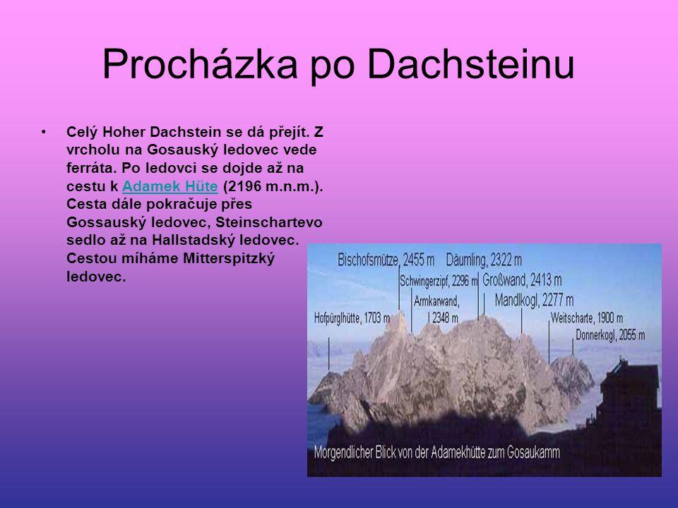 Procházka po Dachsteinu Celý Hoher Dachstein se dá přejít. Z vrcholu na Gosauský ledovec vede ferráta. Po ledovci se dojde až na cestu k Adamek Hüte (