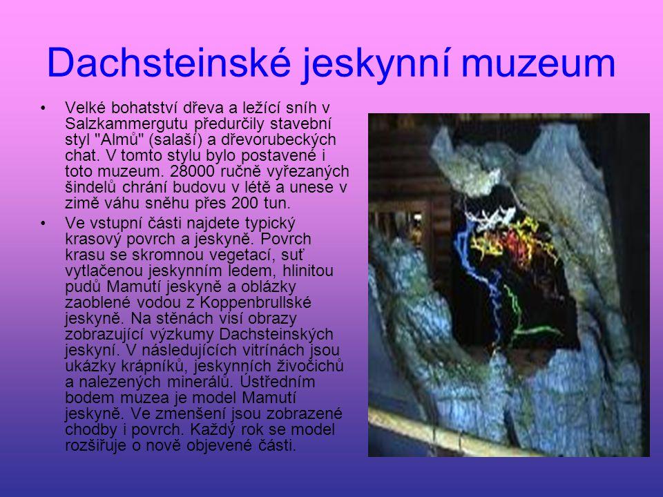 Dachsteinské jeskynní muzeum Velké bohatství dřeva a ležící sníh v Salzkammergutu předurčily stavební styl