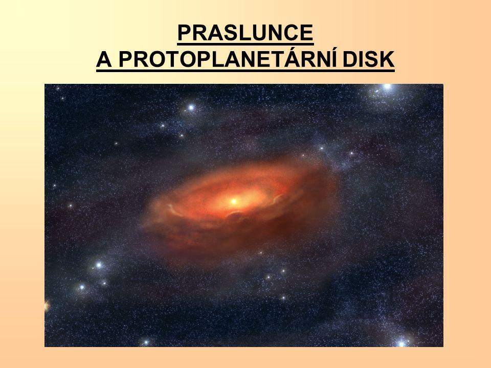 Při smršťování pramlhoviny disk zrychloval svoji rotaci a v důsledku nestabilit se v něm začaly vytvářet shluky hmoty.