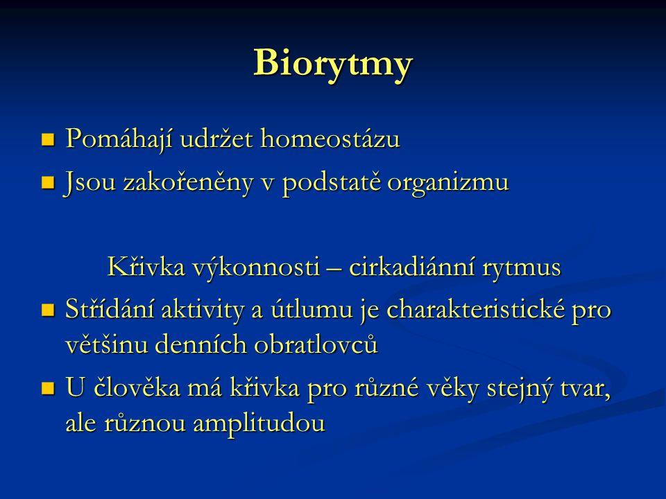 Biorytmy Pomáhají udržet homeostázu Pomáhají udržet homeostázu Jsou zakořeněny v podstatě organizmu Jsou zakořeněny v podstatě organizmu Křivka výkonn