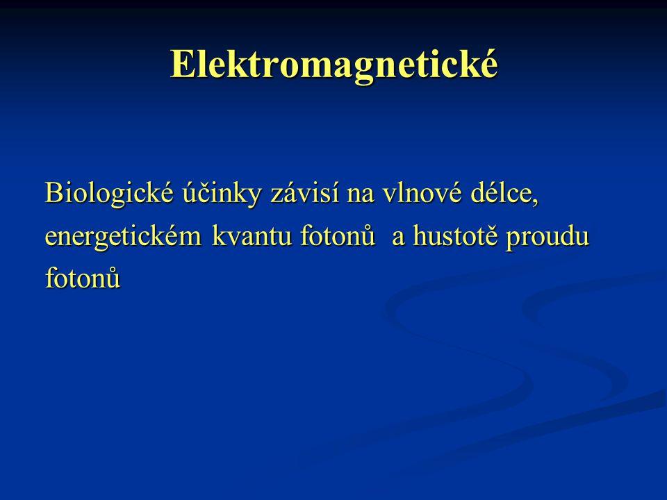 Elektromagnetické Biologické účinky závisí na vlnové délce, energetickém kvantu fotonů a hustotě proudu fotonů