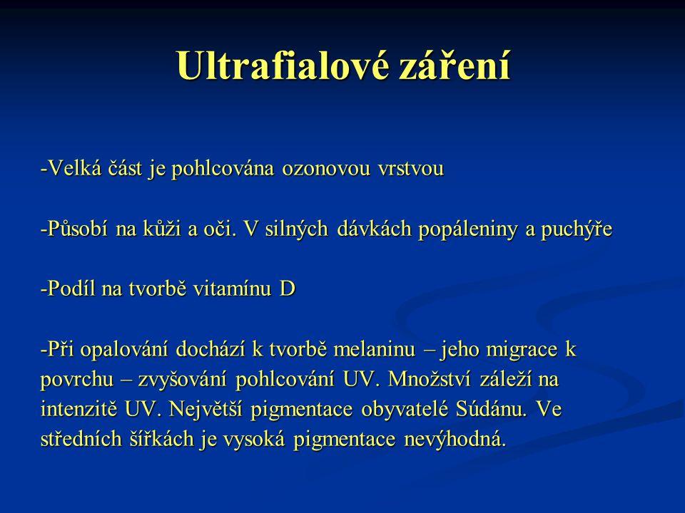 Ultrafialové záření -Velká část je pohlcována ozonovou vrstvou -Působí na kůži a oči. V silných dávkách popáleniny a puchýře -Podíl na tvorbě vitamínu