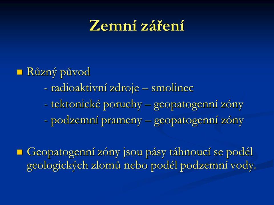 Zemní záření Různý původ Různý původ - radioaktivní zdroje – smolinec - tektonické poruchy – geopatogenní zóny - podzemní prameny – geopatogenní zóny