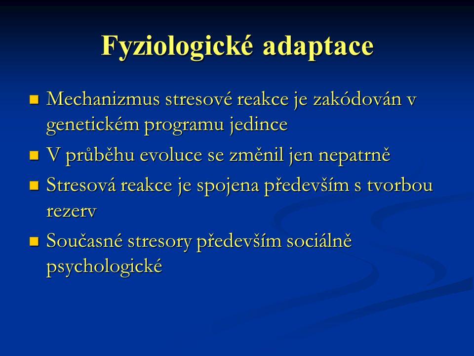 Fyziologické adaptace Mechanizmus stresové reakce je zakódován v genetickém programu jedince Mechanizmus stresové reakce je zakódován v genetickém pro