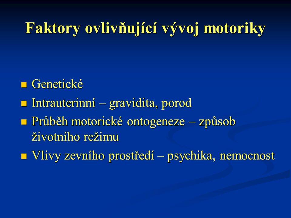 Faktory ovlivňující vývoj motoriky Genetické Genetické Intrauterinní – gravidita, porod Intrauterinní – gravidita, porod Průběh motorické ontogeneze –