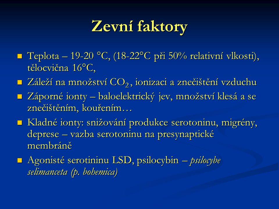 Zevní faktory Teplota – 19-20 °C, (18-22°C při 50% relativní vlkosti), tělocvična 16°C, Teplota – 19-20 °C, (18-22°C při 50% relativní vlkosti), těloc