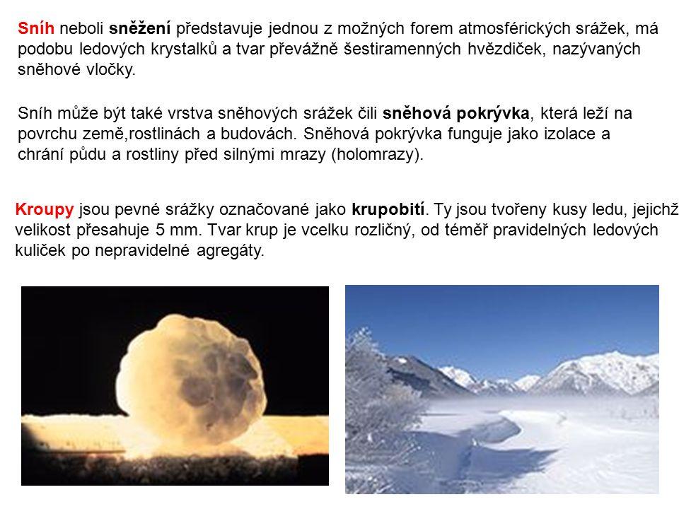 Sníh neboli sněžení představuje jednou z možných forem atmosférických srážek, má podobu ledových krystalků a tvar převážně šestiramenných hvězdiček, nazývaných sněhové vločky.