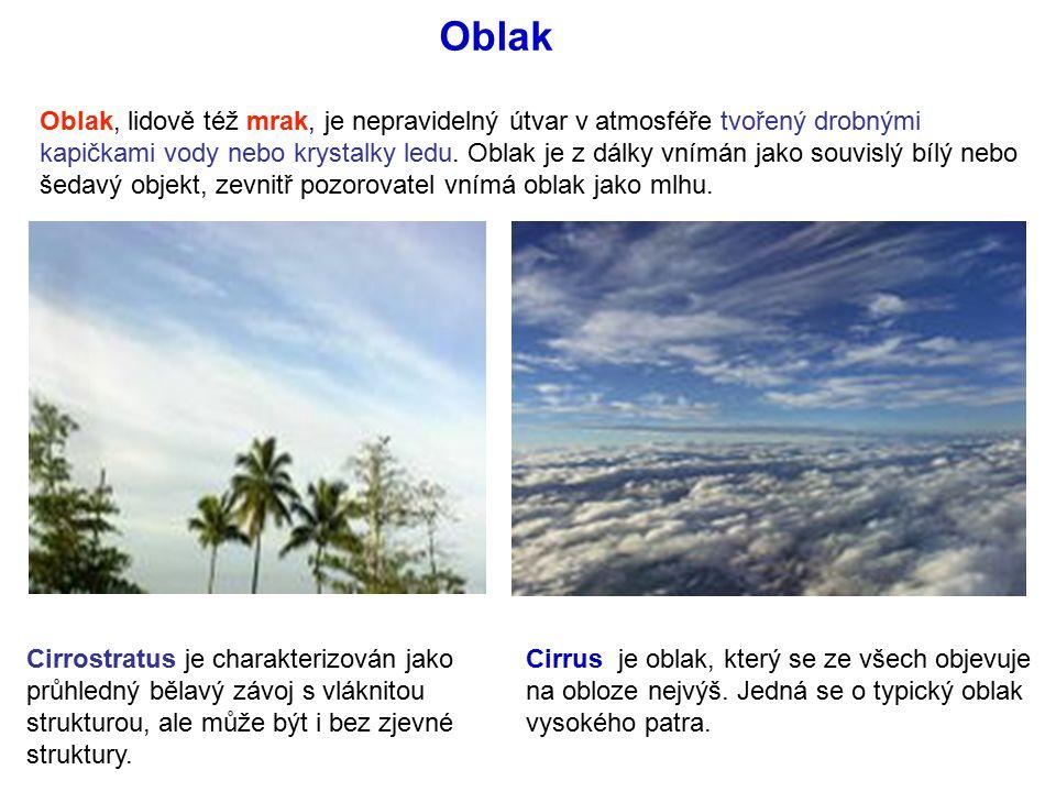 Oblak, lidově též mrak, je nepravidelný útvar v atmosféře tvořený drobnými kapičkami vody nebo krystalky ledu.