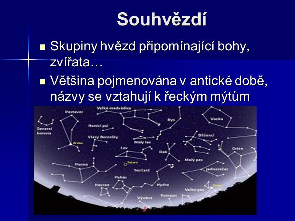 Souhvězdí Skupiny hvězd připomínající bohy, zvířata… Skupiny hvězd připomínající bohy, zvířata… Většina pojmenována v antické době, názvy se vztahují