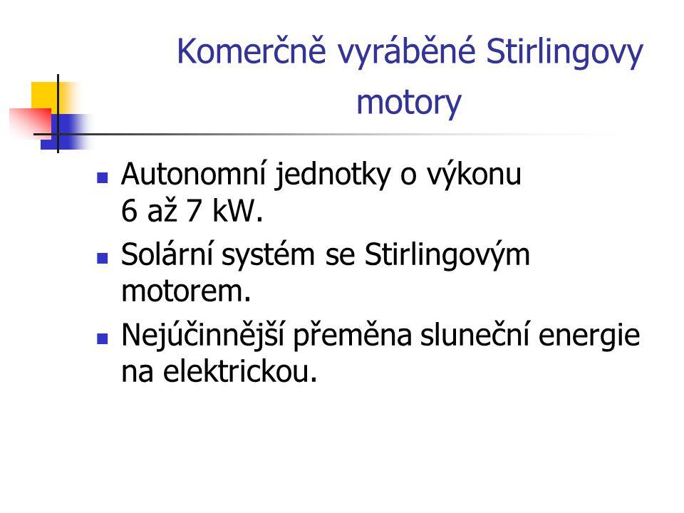 Komerčně vyráběné Stirlingovy motory Autonomní jednotky o výkonu 6 až 7 kW. Solární systém se Stirlingovým motorem. Nejúčinnější přeměna sluneční ener