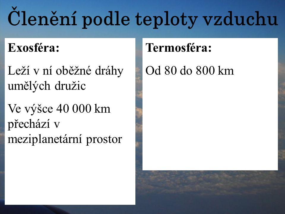 Členění podle teploty vzduchu Troposféra 7-9 km nad póly, 16-18 km nad rovníkem Připadá na ni 80 % hmotnosti atmosféry Teplota s přibývající vzdálenos