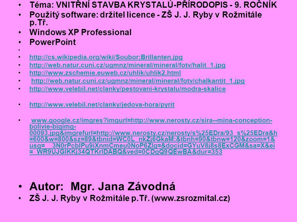 Téma: VNITŘNÍ STAVBA KRYSTALŮ-PŘÍRODOPIS - 9.ROČNÍK Použitý software: držitel licence - ZŠ J.