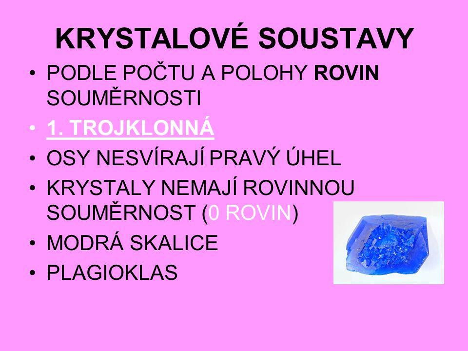 KRYSTALOVÉ SOUSTAVY PODLE POČTU A POLOHY ROVIN SOUMĚRNOSTI 1.