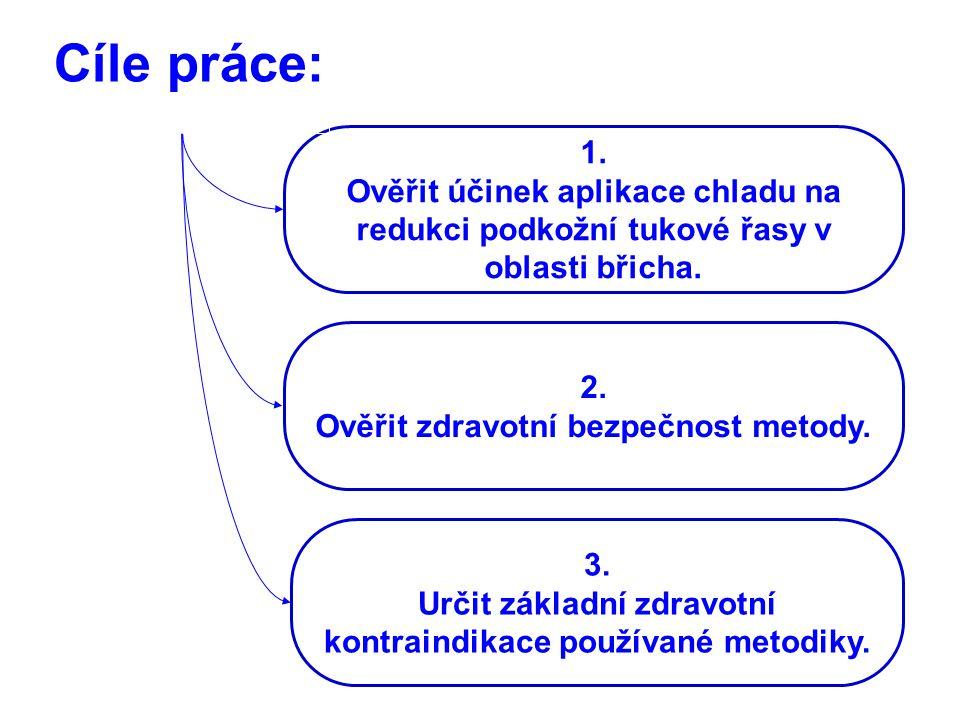 Cíle práce: 1. Ověřit účinek aplikace chladu na redukci podkožní tukové řasy v oblasti břicha. 2. Ověřit zdravotní bezpečnost metody. 3. Určit základn