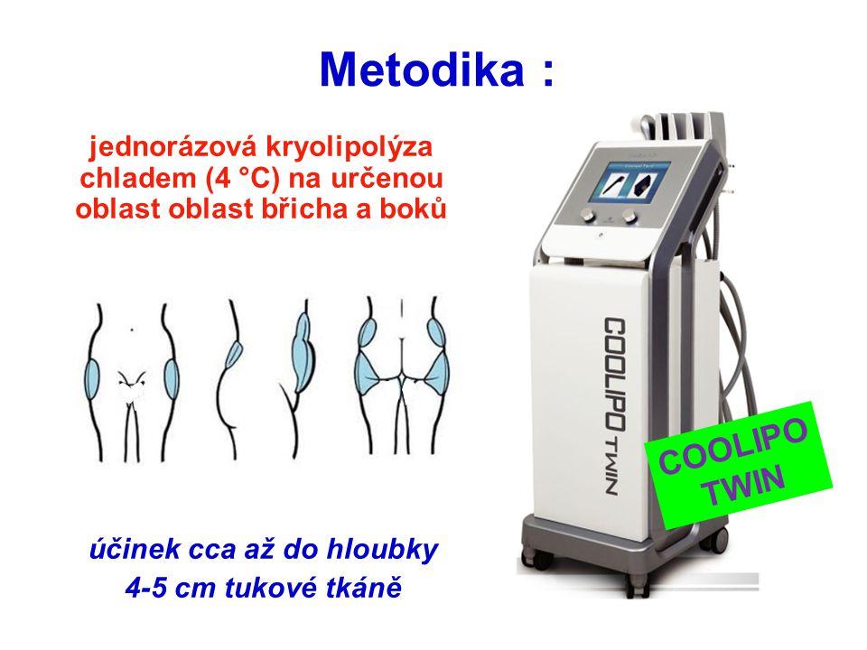 Metodika : COOLIPO TWIN jednorázová kryolipolýza chladem (4 °C) na určenou oblast oblast břicha a boků účinek cca až do hloubky 4-5 cm tukové tkáně CO