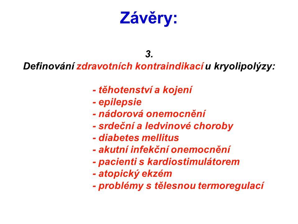 Závěry: 3. Definování zdravotních kontraindikací u kryolipolýzy: - těhotenství a kojení - epilepsie - nádorová onemocnění - srdeční a ledvinové chorob
