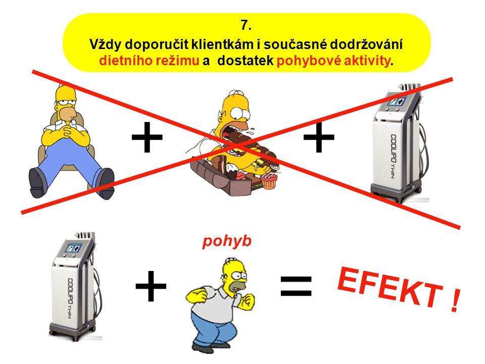 7. Vždy doporučit klientkám i současné dodržování dietního režimu a dostatek pohybové aktivity. + += EFEKT ! + pohyb