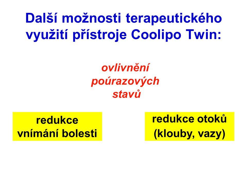 Další možnosti terapeutického využití přístroje Coolipo Twin: redukce otoků (klouby, vazy) redukce vnímání bolesti ovlivnění poúrazových stavů