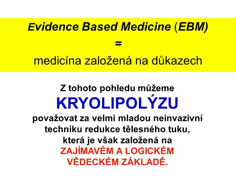 E vidence Based Medicine (EBM) = medicína založená na důkazech Z tohoto pohledu můžeme KRYOLIPOLÝZU považovat za velmi mladou neinvazivní techniku red