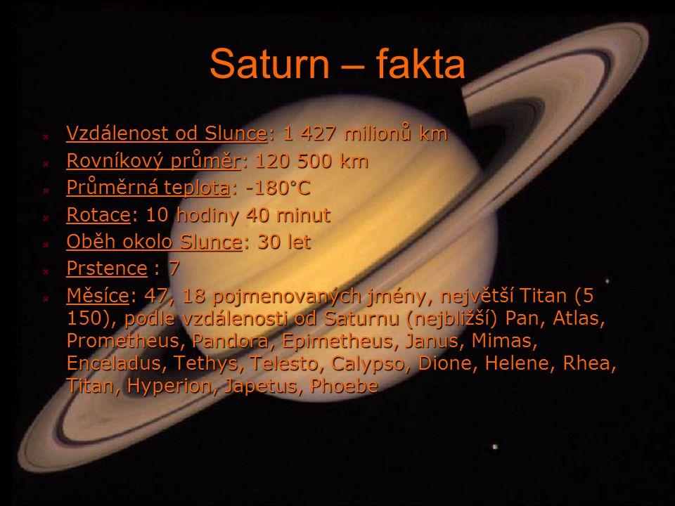 Saturn – fakta Vzdálenost od Slunce: 1 427 milionů km Rovníkový průměr: 120 500 km Průměrná teplota: -180°C Rotace: 10 hodiny 40 minut Oběh okolo Slunce: 30 let Prstence : 7 Měsíce: 47, 18 pojmenovaných jmény, největší Titan (5 150), podle vzdálenosti od Saturnu (nejbližší) Pan, Atlas, Prometheus, Pandora, Epimetheus, Janus, Mimas, Enceladus, Tethys, Telesto, Calypso, Dione, Helene, Rhea, Titan, Hyperion, Japetus, Phoebe
