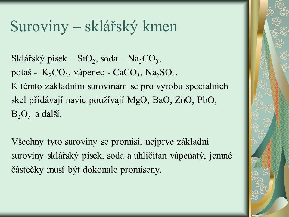 Suroviny – sklářský kmen Sklářský písek – SiO 2, soda – Na 2 CO 3, potaš - K 2 CO 3, vápenec - CaCO 3, Na 2 SO 4. K těmto základním surovinám se pro v