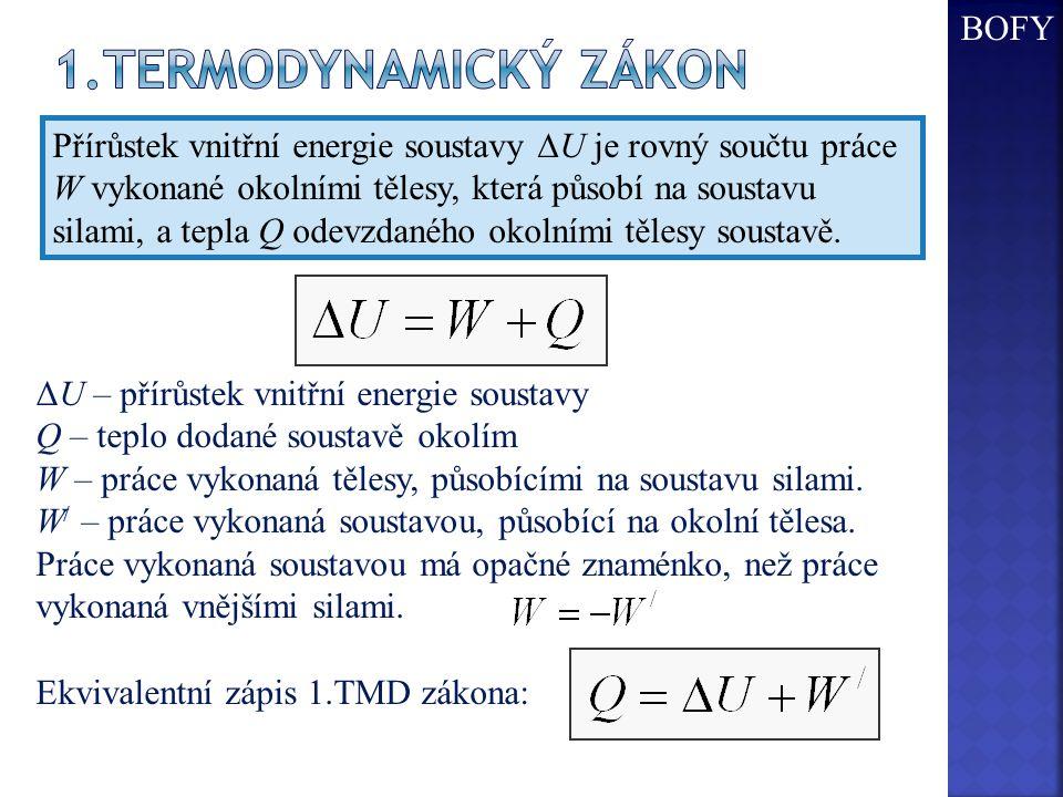 Přírůstek vnitřní energie soustavy  U je rovný součtu práce W vykonané okolními tělesy, která působí na soustavu silami, a tepla Q odevzdaného okolními tělesy soustavě.