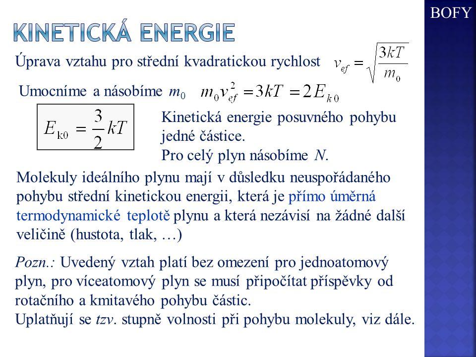 Umocníme a násobíme m 0 Molekuly ideálního plynu mají v důsledku neuspořádaného pohybu střední kinetickou energii, která je přímo úměrná termodynamické teplotě plynu a která nezávisí na žádné další veličině (hustota, tlak, …) Úprava vztahu pro střední kvadratickou rychlost Kinetická energie posuvného pohybu jedné částice.