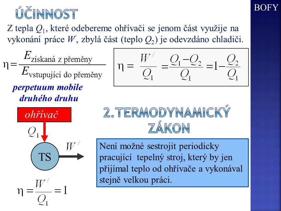 Z tepla Q 1, které odebereme ohřívači se jenom část využije na vykonání práce W /, zbylá část (teplo Q 2 ) je odevzdáno chladiči.