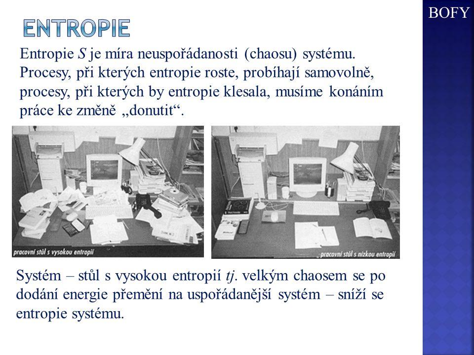 Entropie S je míra neuspořádanosti (chaosu) systému.