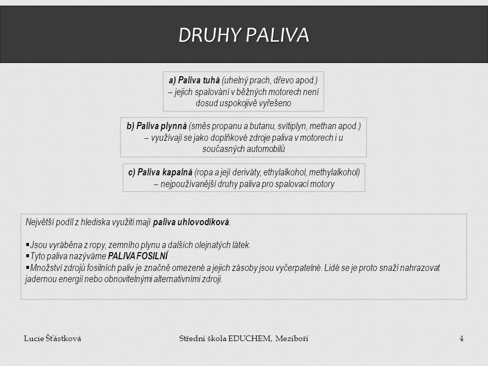 DRUHY PALIVA Lucie ŠťástkováStřední škola EDUCHEM, Meziboří4 a) Paliva tuhá (uhelný prach, dřevo apod.) – jejich spalování v běžných motorech není dos